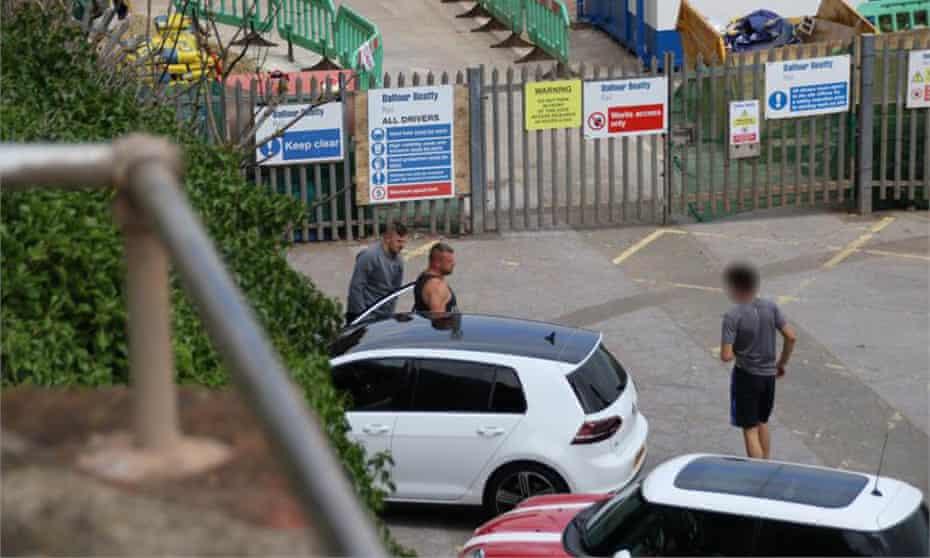 A surveillance photo of gang members at Dawlish railway station.