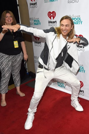 David Guetta strikes a pose at The iHeartRadio Summer Pool Party at Caesars Palace on May 30, 2015 in Las Vegas, Nevada.