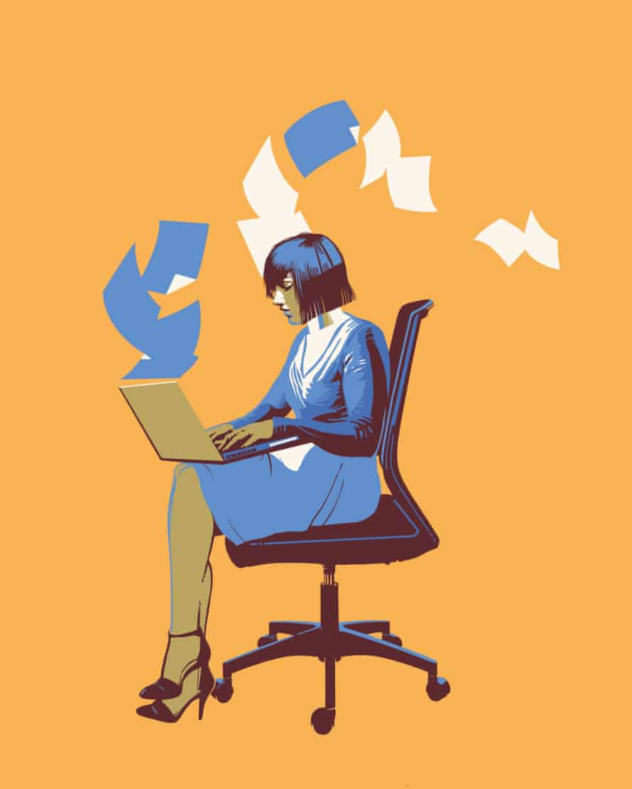 Illustration of woman typing