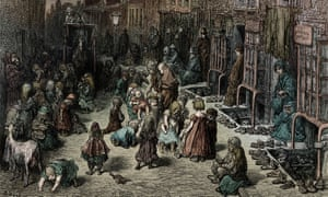 An 1872 engraving by Gustave Doré of children playing in a slum in Covent Garden, London.