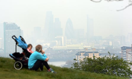 Air pollution in London seen from a distance