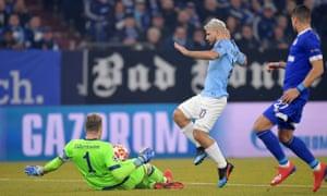 Ralph Fayerman breaks Sergio Aguero from Manchester City.