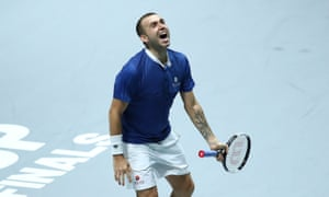 Dan Evans reacts after beating Germany's Jan-Lennard Struff.