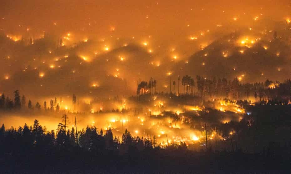 The 2014 El Portal fire burning near Yosemite National Park, California