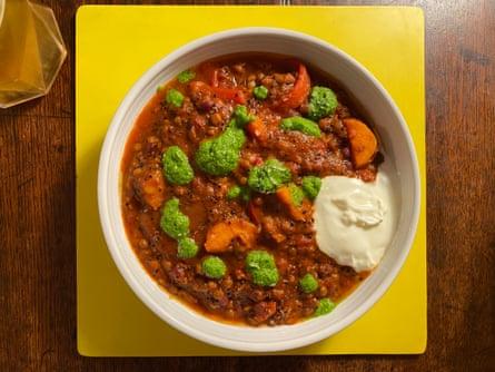 Anna Jones' veggie chilli uses lentils and quinoa.