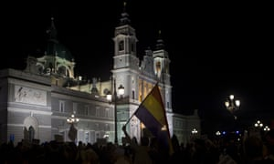 Protesters gather outside the Almudena cathedral to urge authorities to prevent the remains of Franco being reburied there.
