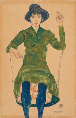The Prostitute, 1913 Schiele retained an affinity for toys and puppets throughout adulthood. The artist's inspiration, drawn from the aesthetic and choreography of marionette theatre, can be seen in the contorted figure of his model and her inherent doll-like features