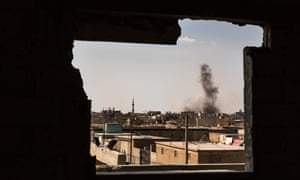 A general view shows smoke rising from an ISIS position inside Raqqa, shortly after it was hit by Syrian Democratic Forces (SDF) and Coalition artillery.
