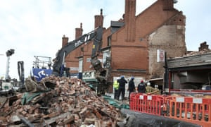 Emergency services at the scene of the Leicester explosion.