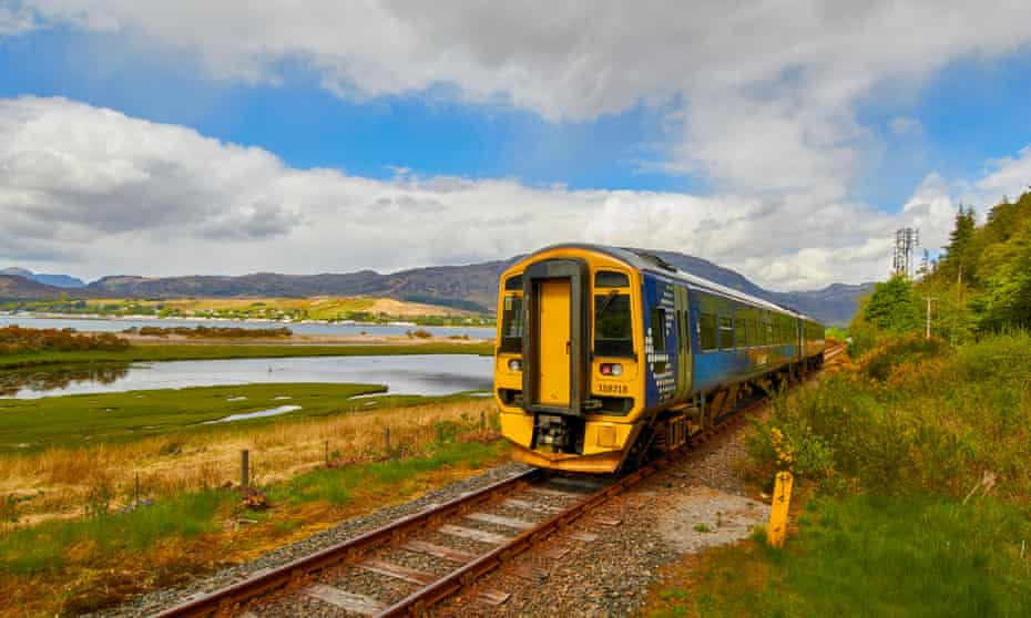 A train leaving Attadale on the Kyle of Lochalsh line.