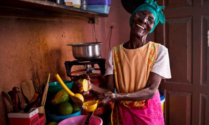 In Zanzibar, Tanzania, 88-year-old Ernestina Felix makes orange juice to sell to neighbours