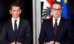 The People's party's 31-year-old foreign minister, Sebastian Kurz, becomes the country's new chancellor, and Heinz-Christian Strache, the head of the Freedom party, his deputy.
