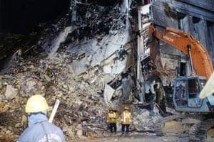 The impact of the crash caused sections of the building to collapse