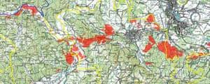 Detail of map showing minefields in Croatia