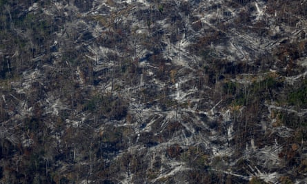 An aerial view shows deforested land in Apui, in the southern region of the state of Amazonas, Brazil.