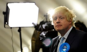Boris Johnson after the general election count at Brunel University, London.