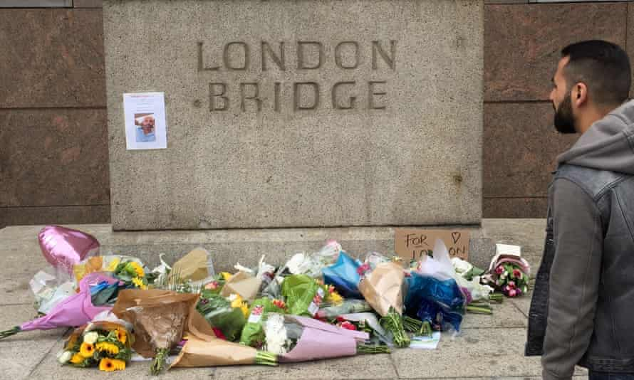 Floral tributes laid at the end of London Bridge