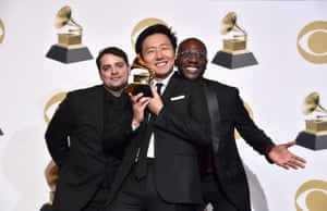 Jason Cole, Hiro Murai, and Ibra Ake, winners of Best Music Video for 'This Is America', pose in the press room