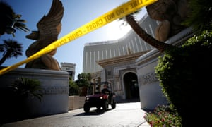 A member of the FBI leaves the Mandalay Bay hotel following the mass shooting in Las Vegas, Nevada.