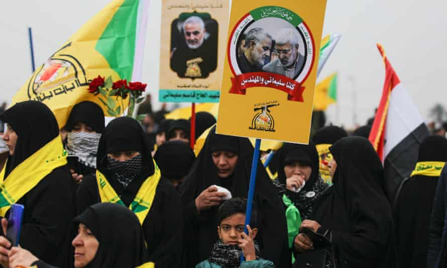 The funeral procession of Iranian military commander Qassem Suleimani in Baghdad on January 4, 2020.