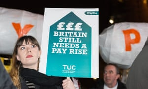 Trade unionists protest against the 1% cap for public sector pay rises at a demonstration in London last year.