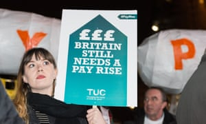 Trade         unionists protest against the public sector pay cap outside         parliament in October.