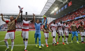 Switzerland players celebrate after their 1-0 win over Albania.