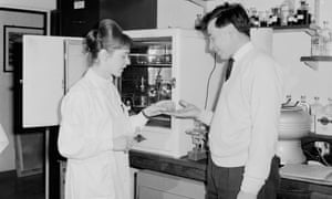 Embryologist Jean Purdy left, with physiologist Prof Sir Robert Edwards in their research laboratory in Cambridge, 1968.