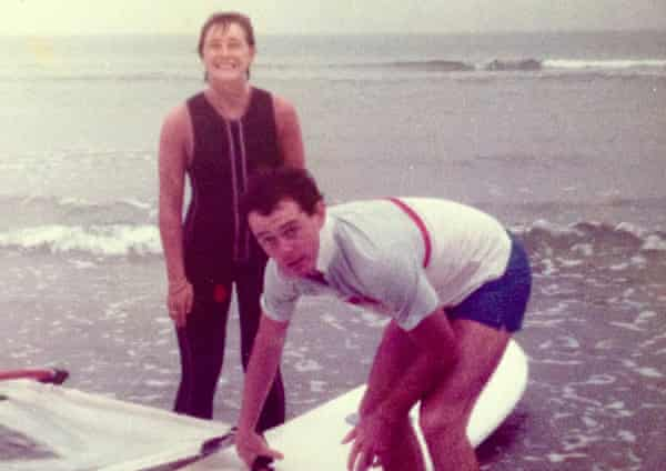 Joan and John windsurfing in the 1980s