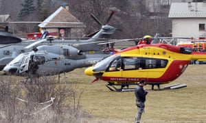 Helicopters of the French air force and civil security services in Seyne, France