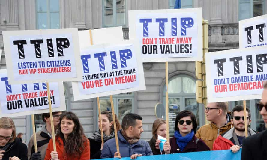 Activists demonstrate against the Transatlantic Trade and Investment Partnership (TTIP)