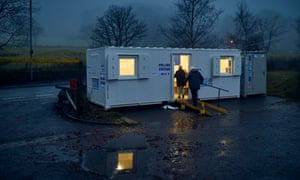Voters arriving at a mobile polling station at Holcombe village in the marginal Bury North constituency.