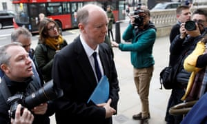 The chief medical officer for England, Chris Whitty, arrives at the Cabinet Office in central London on 9 March.