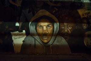 Trayvon Martin, Livonia Avenue at Jerome, Brooklyn, 2015. 'Shadows give power to an otherwise amateurish portrait of Trayvon Martin wearing a hoodie, his sad eyes peering out,' Vergara says