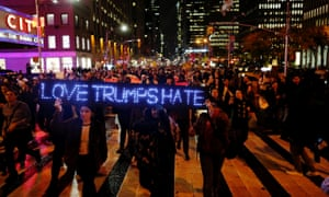 Protesters gather near Trump Tower during a march against the president-elect in Manhattan on Wednesday.