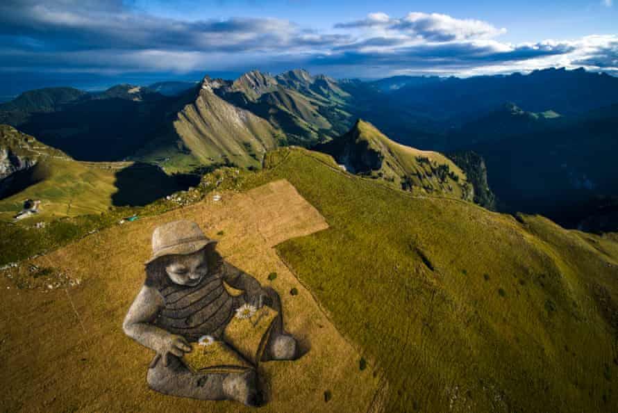 A Story of the Future, land art by Saype on a hill above Montreux, Switzerland, in 2017.