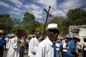 Worshippers walk to the fifth station in the Way of the Cross procession marking Good Friday in Port-au-Prince, Haiti.