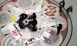 Students in April protested at the Texas Capitol against SB4, a state immigration law against which civil rights groups will argue this week during a federal court hearing.
