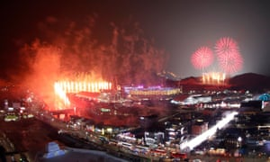 Fireworks go off at the start of the Pyeongchang Winter Olympics opening ceremony
