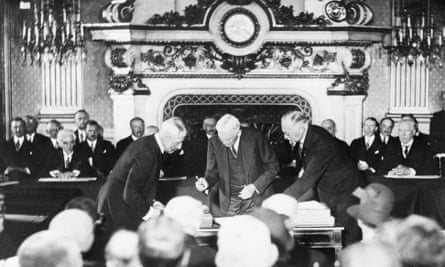 The signing of the Kellogg-Briand pact in Paris in 1928.
