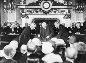 The signing of Kellogg-Briand pact at the Palais D'Orsay in Paris, France, in 1928.