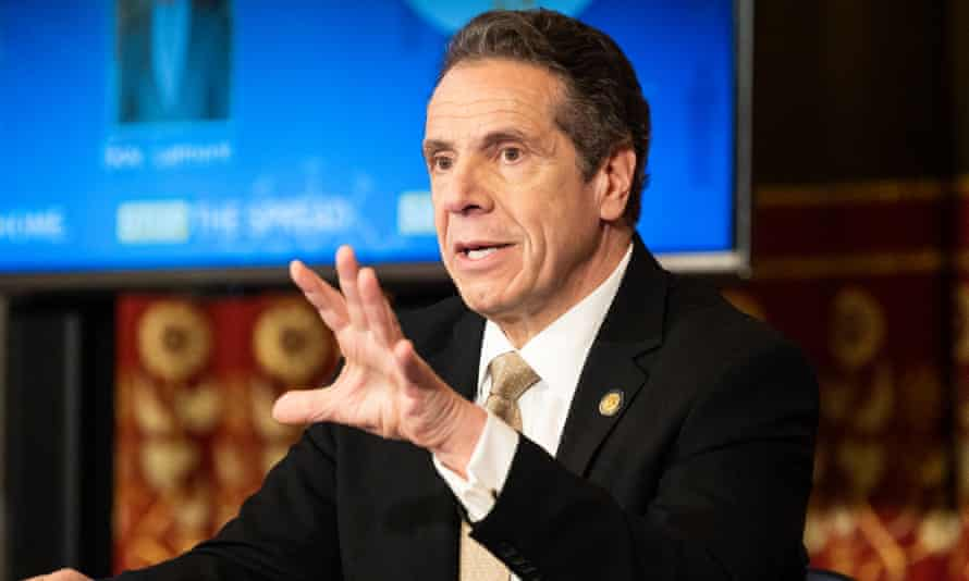 Andrew Cuomo speaks at a press conference in Albany, New York, on 22 April.