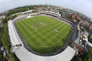 A fantastic elevated view of the action going on inside Lord's and of the London skyline.
