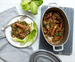 Sausage and pearl barley casserole