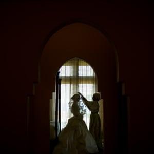 Saudi bride preparing for her wedding.