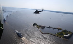 A Mil Mi-8 helicopter takes part in Navy Day rehearsals in St Petersburg, Russia