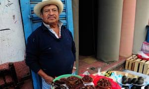 Fried grasshoppers for sale in Oaxaca.