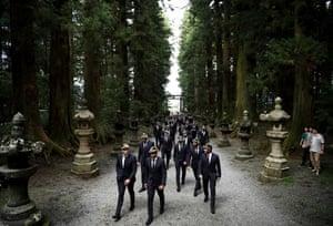 France players arrive at Kitaguchi Hongu Fuji Sengen Shrine following an official welcoming ceremony in Fujiyoshida.