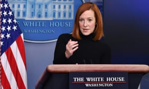 White House press secretary Jen Psaki speaks during a news briefing on Tuesday.