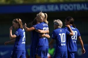 Chelsea's Pernille Harder celebrates scoring her side's eighth goal.
